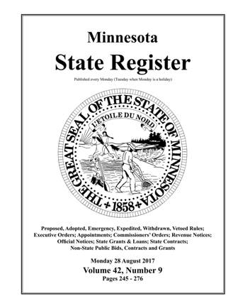 Minnesota State Register Volume 42 Number 9 Request for Proposals Wadena County Survey